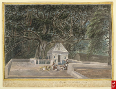 A_small_temple_beneath_the_Bodhi_tree,_Bodh_Gaya,_c._1810