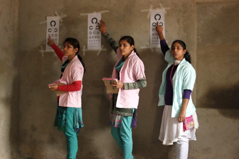Girls undergoing the Optometrist Training