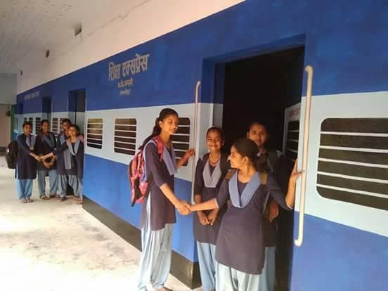 School designed as train compartments to attract children in Bihar